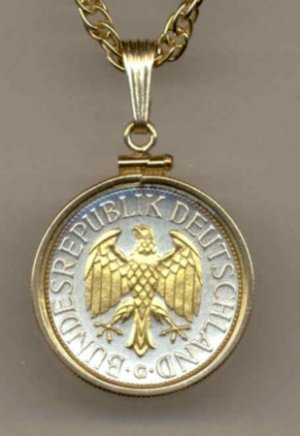 German 1 Mark Coin Necklace Pendant Germany
