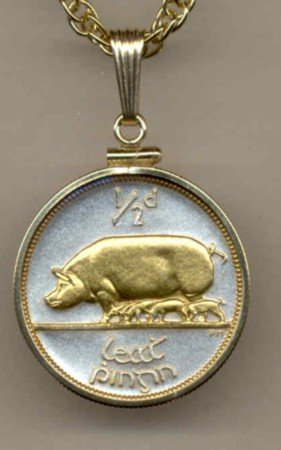 Pig & Piglets Coin Necklace Pendant