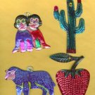 4 MEXICAN HANDCRAFTED TIN ORNAMENTS