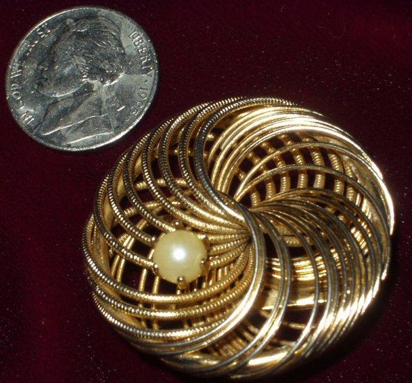 1950s Atomic Age Vintage Spiral Faux Pearl Brooch