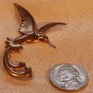 Vintage Copper Scissor Tailed Humming Bird Pressed Metal Brooch C-clasp