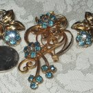 Vintage For-get-me-not Flower Rhinestone Earrings  &Brooch