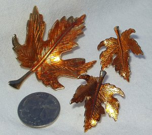 Vintage 1960's Enamel Maple Leaf Demi Parure Brooch Earring Set