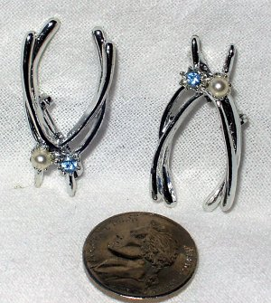 Vintage Wishbone Rhinestone Faux Pearl Scatter Pins Brooches
