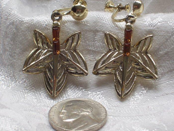 MVintage maple Leaf Rootbeer Rhinestone Screw Back Earrings