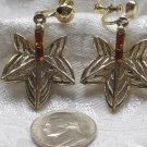 MVintage maple Leaf Rootbeer Rhinestone Screw Back Earrings