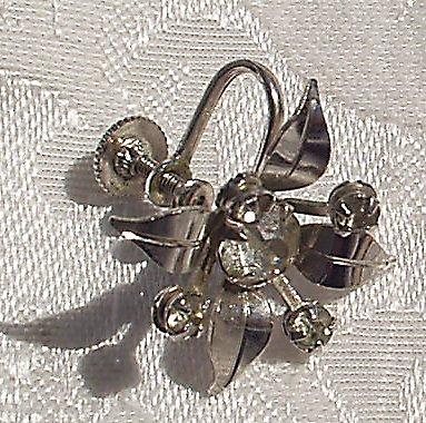 Earrings Signed BN 1950's Atomic Age Rhinestone Star flower