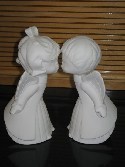 Kissing angels ceramic bisque ready to paint for Bisque ceramic craft stores