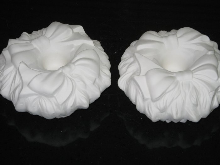 Ceramic Wreath Candle Holders Pair Ready To Paint Bisque
