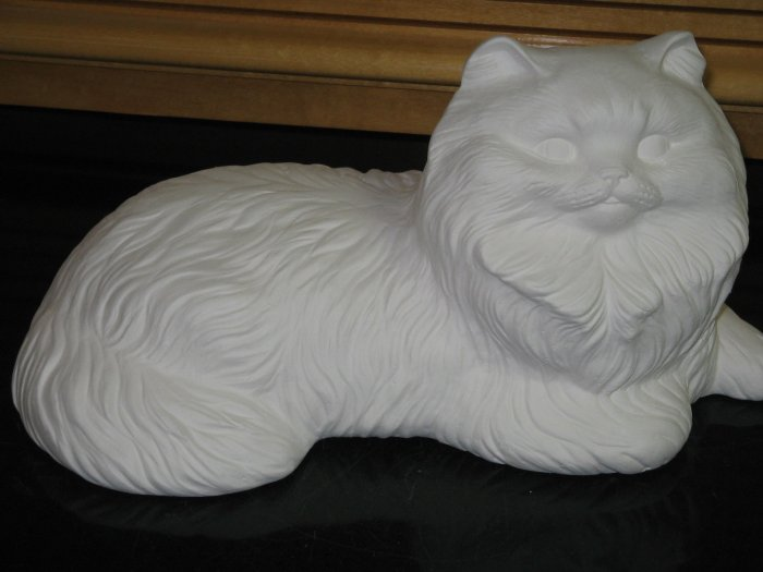 Ready To Paint Persian Cat Ceramic Bisque Laying Down