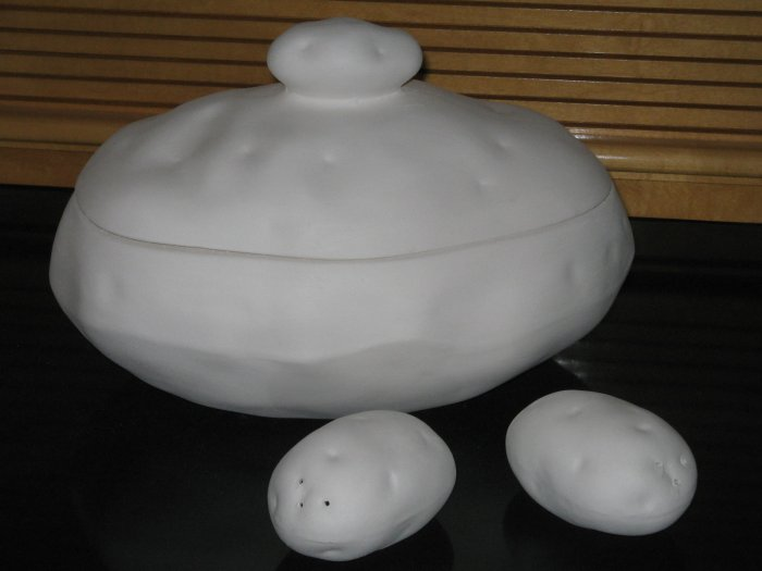 Ceramic Ready To Paint Baked Potato Look Serving Bowl with Salt Pepper