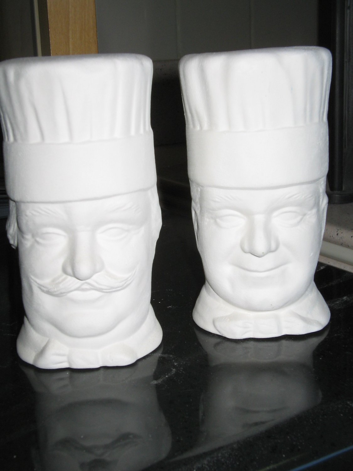 Chef Salt and Pepper Shakers Ready To Paint Ceramic Bisque U Paint