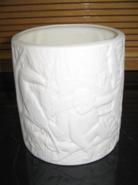 U Paint Ceramic Jungle Flower Pot Ready To Paint Bisque Monkey Toucan Parrot
