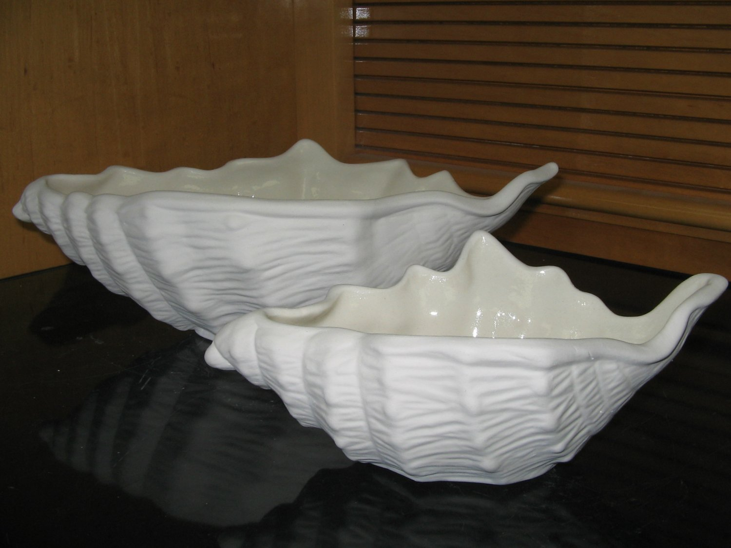 Ready to paint shell dishes pair ceramic bisque u paint for Bisque ceramic craft stores