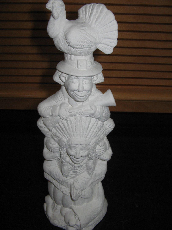 Ceramic bisque thanksgiving totem turkey indian pilgrim for Bisque ceramic craft stores