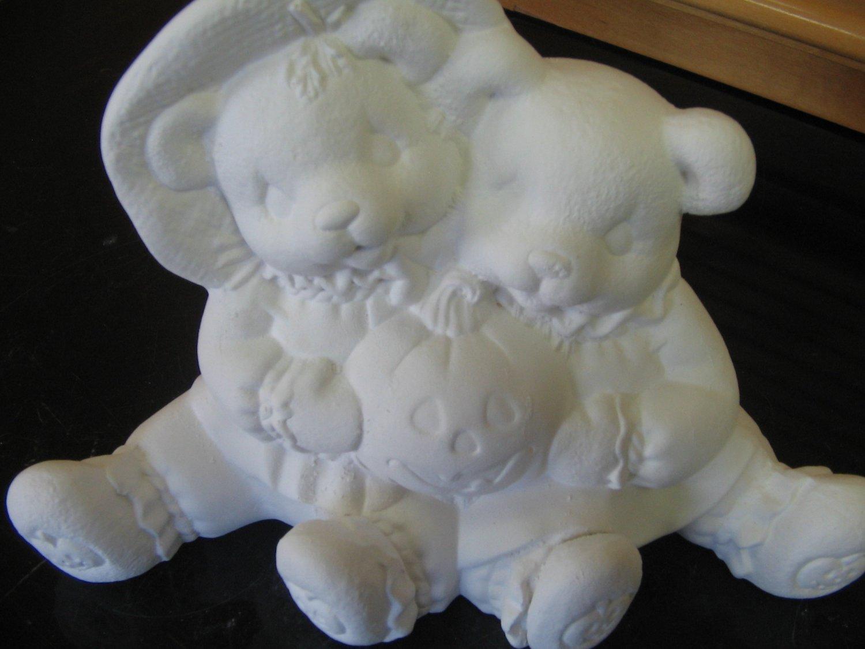 Ready to paint ceramic bears with pumpkin ceramic bisque u for Bisque ceramic craft stores