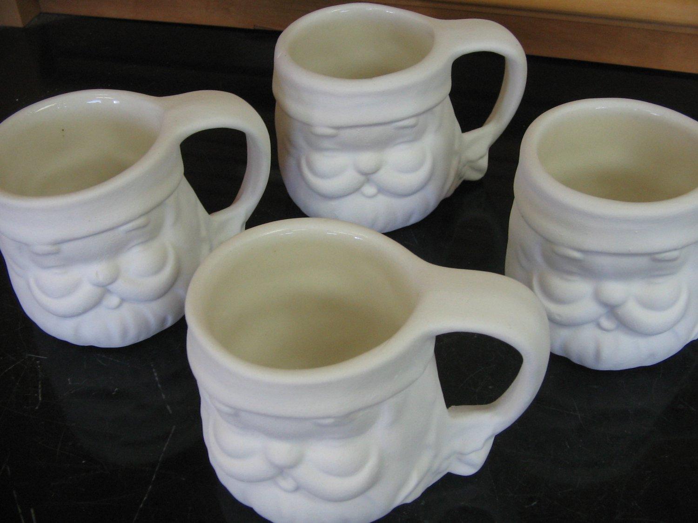 Ceramic bisque set of 4 santa mugs ready to paint u paint for How to paint ceramic mugs at home
