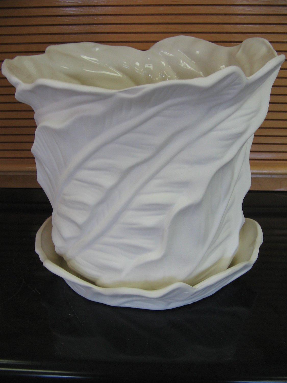 Ceramic Bisque Large Leaf Design Flower Pot With Saucer U Paint Ceramics