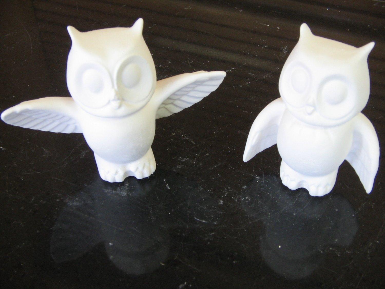 Pair Mini Owls Ready To Paint Ceramic Bisque U Paint Ceramics
