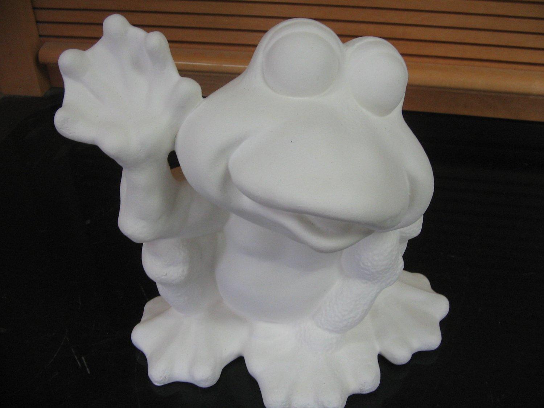 Frog Waving Ceramic Bisque Ready To Paint Ceramics U Paint