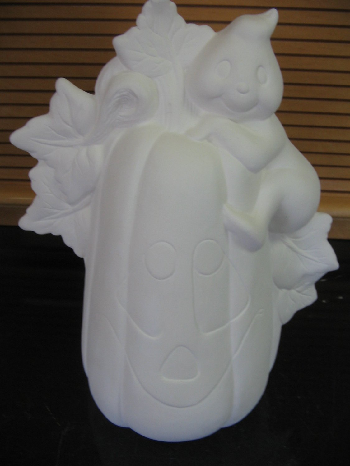 Ceramic Pumpkin With Climbing Ghost Ready To Paint Ceramic Bisque U Paint Ceramics