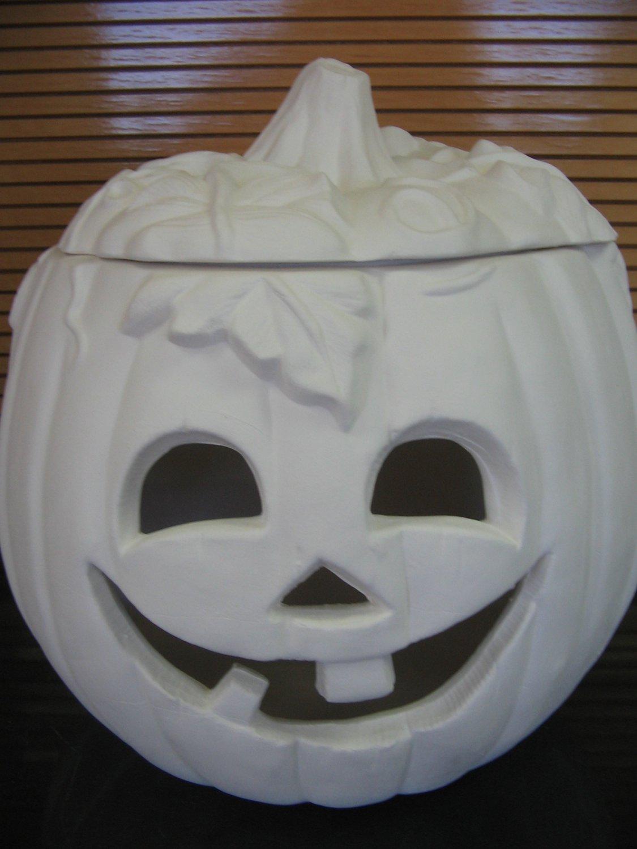 Large Ceramic Pumpkin With Face Cut Out Bisque Ready To Paint Ceramics U Paint