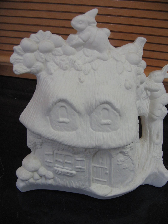Ceramic ready to paint bunny cottage u paint ceramics for Bisque ceramic craft stores