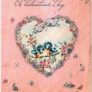 Vintage Greeting Card Pretty B;uebirds Heart Frame Flowers