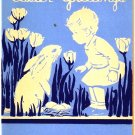 Vintage Greeting Card Child and Bunny