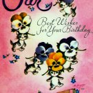 Vintage Greeting Card Sweet Kittens Pansies Pansy Flowers Secret Messages