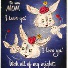 Vintage Greeting Card Bunnies Rabbits