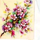 Vintage Greeting Card Pink Floral Blossoms