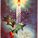 Vintage Christmas Card Burning Candle Decoration
