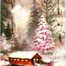 Vintage Christmas Card Pink Tree Covered Bridge Winter Scene