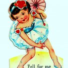 Vintage Valentine Card Pretty Girl Tightrope Parasol