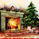 Pretty Tree Presents Fireplace Hearth Vintage Christmas Card Image