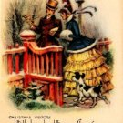 Pretty Lady Gent Little Dog Vintage Christmas Card Image