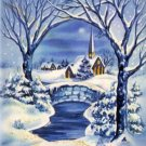 Snowy Trees Church Winter Scene Vintage Christmas Card Image