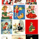 Vintage Christmas Card Images Little Girls Digital Sheet