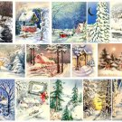 Vintage Christmas Card Images Winter Scenes Digital Sheet