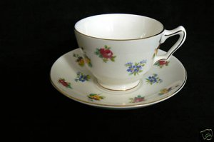 Crown Staffordshire FLORAL CUP & Saucer Bone China