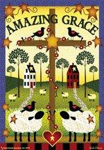 Garden Flag AMAZING GRACE cross crows sheep 12 x 18 FREE SHIPPING