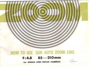 SUN Auto Zoom original MANUAL for SLR camera Lens Vintage FREE SHIPPING
