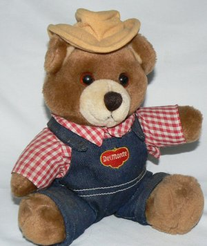VINTAGE BEAR Collectible DELMONTE plush stuffed toy EUC Free Shipping