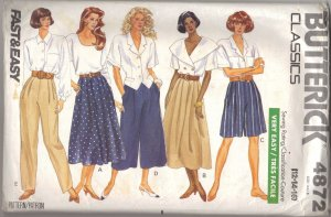 Misses� Skirt Shorts Culottes & Pants 12 14 16 Butterick 4872  FREE SHIPPING