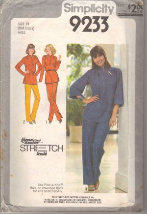 Knit Pants & Top Vintage Sewing Pattern Simplicity 9233 size 10 12 14 FREE SHIPPING