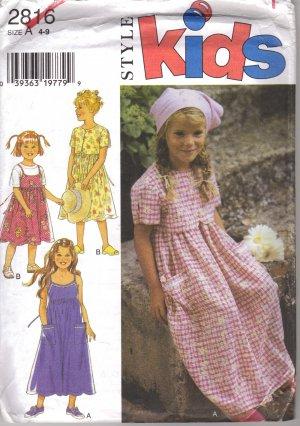 Sewing Pattern Girls Summer DRESS Style 2816 Uncut 4 -9