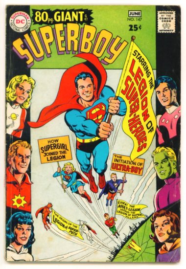SUPERBOY #147 DC Comics 1968 80 Page GIANT Origin LEGION of SUPER-HEROES