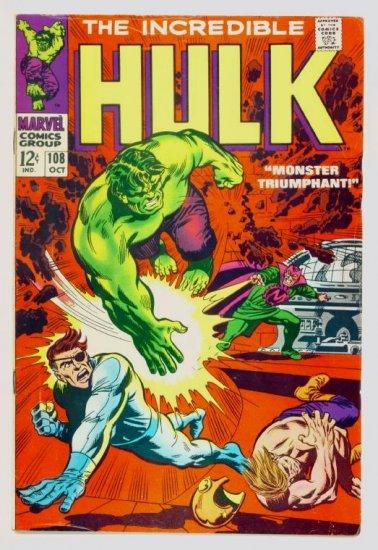 INCREDIBLE HULK #108 Marvel Comics 1968 FINE