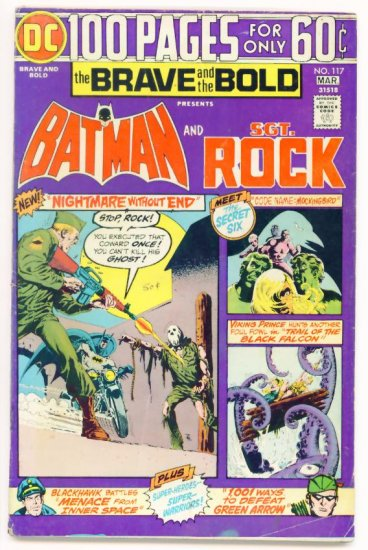 The BRAVE AND THE BOLD #117 DC COMICS 1975 Batman Sgt Rock 100 PAGE GIANT